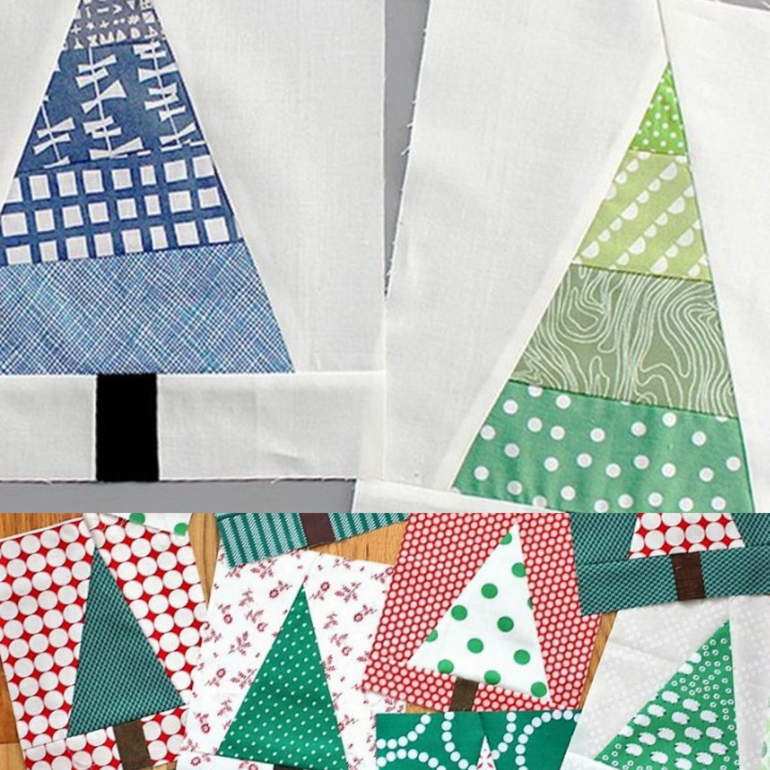 Beginners Monthly Quilt Block - Scrappy Christmas Trees